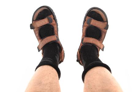 calcetines y sandalias de moda como turista checo y el símbolo