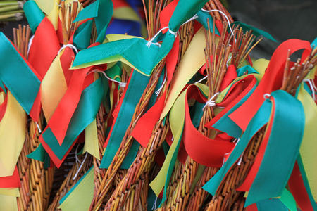 verb: traditional czech easter rods as holiday background