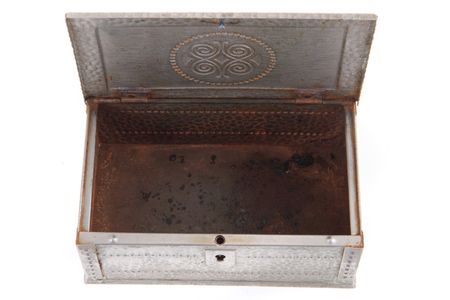 metal box: old metal box isolated on the white background