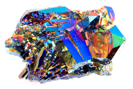 titanium: crystal with metal rainbow surface isolated on the white background