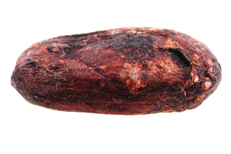 cocoa bean: detail of cocoa bean isolated on the white background Stock Photo