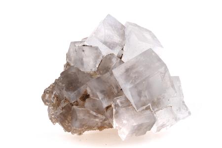 白い背景に分離された岩塩塩キューブ 写真素材