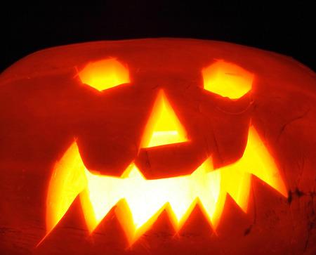 nice halloween pumpkin on the black bacground Stock Photo