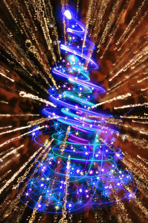 ball point: xmas tree from the christmas lights in the night