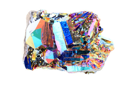 iron oxide: crystal with metal rainbow surface isolated on the white background
