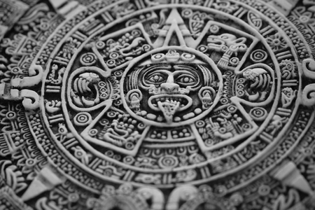 old aztec calendar as nice history background Stock Photo