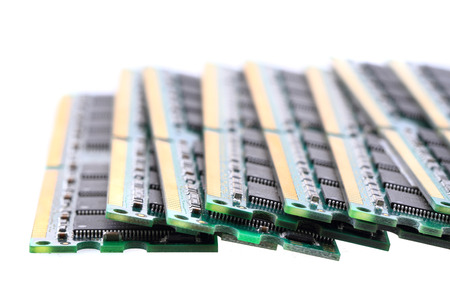computer memory chips isolated on the white background