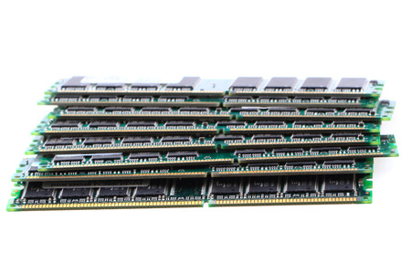 ram DDR computer chips isolated on the white background