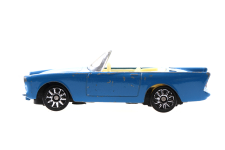 blue metal toy car isolated on the white background Stock Photo