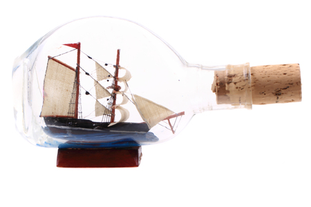 ship in the bottle isolated on the white background