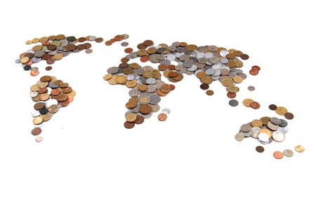 old world coins as world map isolated on the white background