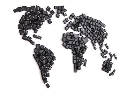 black keyboard keys as world map isolated on the white background