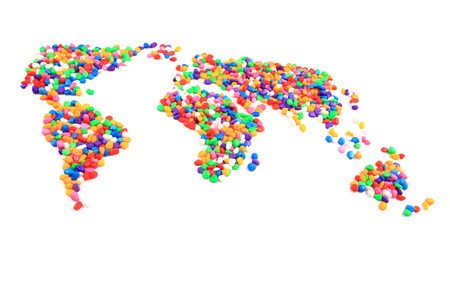 color stones texture as world map isolated on the white background