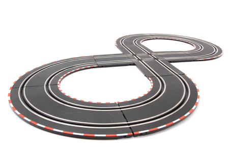 formula one: racing track toy isolated on the white background Stock Photo