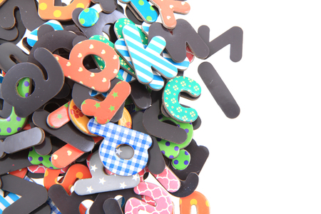 color plastic alphabet isolated on the white background