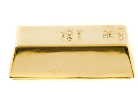 golden brick isolated isolated on the white background
