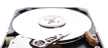 detail of hard drive isolated on the white background