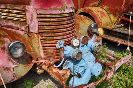 ferruginous old car detail as nice background Stock Photo