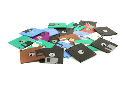fdd disks in the different colors on the white background