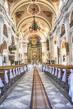 interior of nice church in otmuchow (Poland) Editorial
