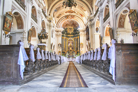 sanctified: interior of nice church in otmuchow (Poland) Editorial