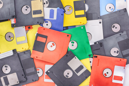 nice rainbow background from the floppy discs Reklamní fotografie