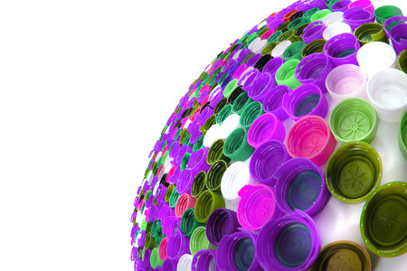 color plastic caps as easy recycle background Stock Photo