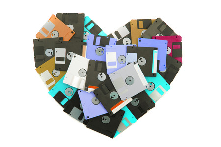 floppy disks heart isolated on the white background Stock Photo