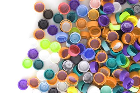 color background from the plastic caps isolated