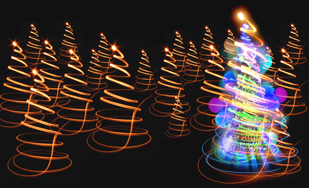 christmas tree from the color xmas lights as nice holiday background Stock Photo