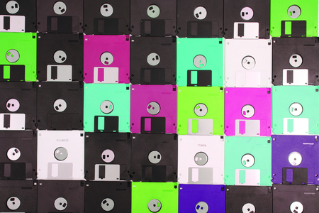 color floppy disks as nice technology backround  Editorial