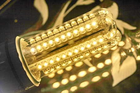 resourceful: led bulb light in the dark nigt  Stock Photo