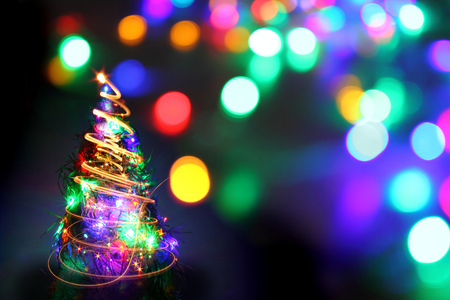 christmas tree from the color lights as nice holiday background