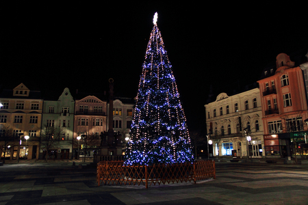 christmas tree in Ostrava city as nice background