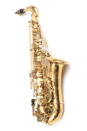 shiny saxophone isolated on the white background Stock Photo