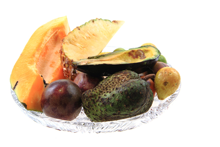 papaya annona passionfruit avocado and other exotic fruits Stock Photo