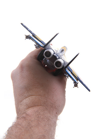 air fighter toy in human head isolated on the white background