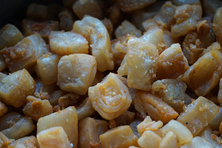 traditional czech cracklings as nice food background