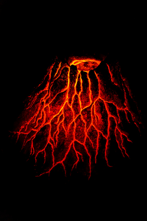 Hot red volcano in the dark night Stock Photo