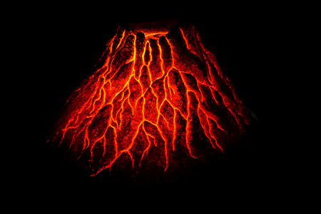 hot red volcano in the dark night