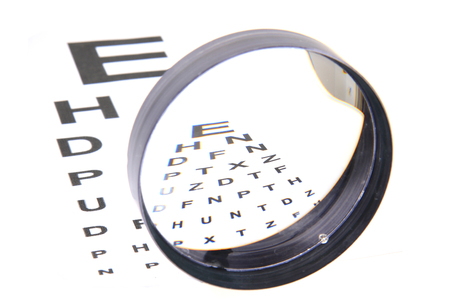 optic test and different magnify glasses isolated on the white background