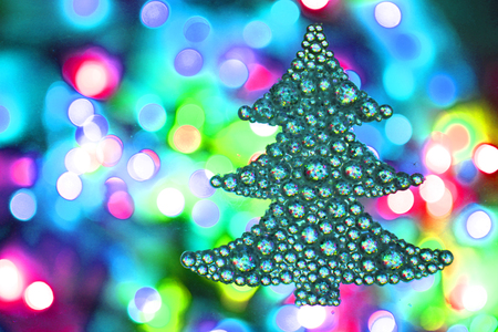 color christmas lights with decorative object as nice background stock photo 100144296