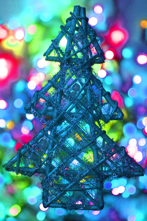 color christmas lights with decorative object as nice background stock photo 103254022