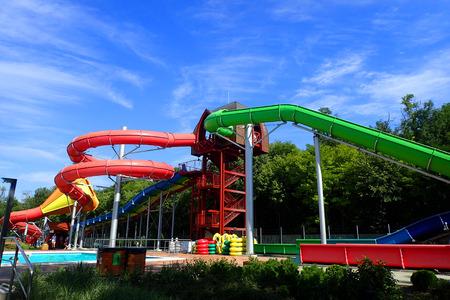 toboggan in water park as nice aquapark entertainment