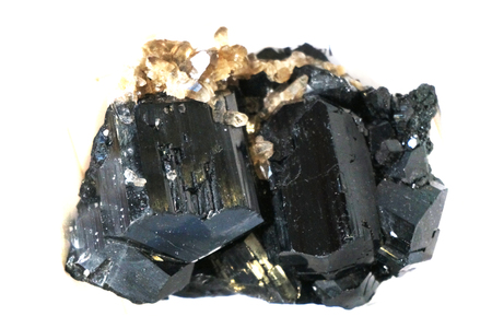 schorl mineral isolated on the white background