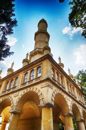 czech minaret tower in Lednice castle areal