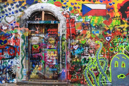 PRAGUE, CZECH REPUBLIC - MARCH 13:The Lennon Wall since the 1980 filled with graffiti MARCH 13, 2015 Prague, Czech Republic (city scene) 에디토리얼