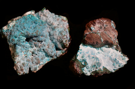 blue aragonite mineral isolated on the black background