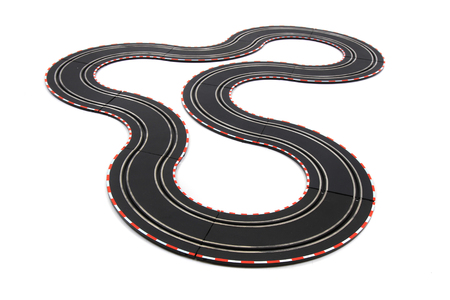 track race toy isolated on the white background Banco de Imagens