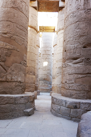 Great Hypostyle Hall and clouds at the Temples of Karnak Egypt 免版税图像